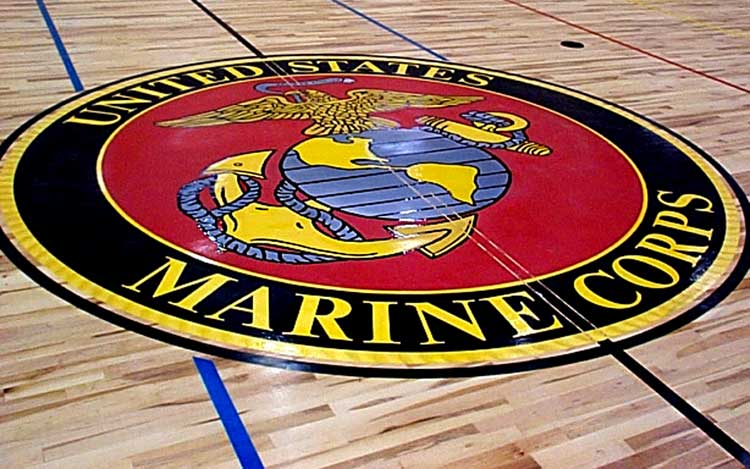 US Marines basketball court flooring