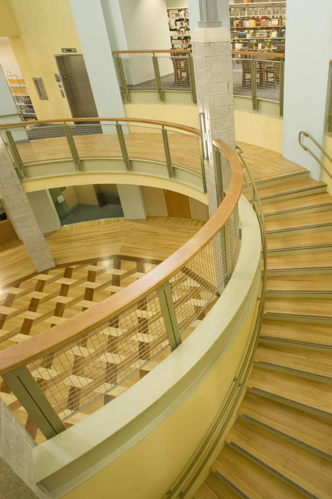 hardwood stairs at the Germantown Public Library
