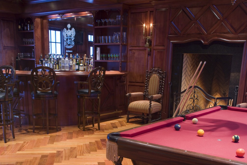 billiard room hardwood floors